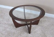 Glass and Wood Round Coffee table